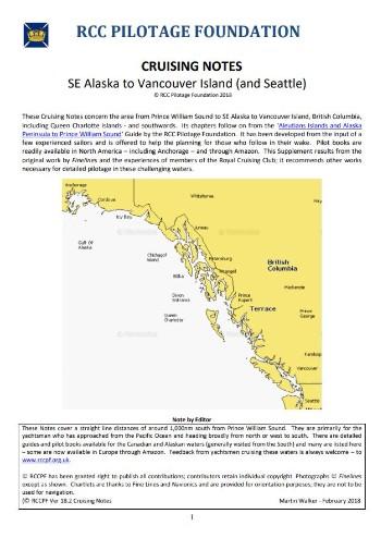 Cruising Notes SE Alaska to Vancouver Island